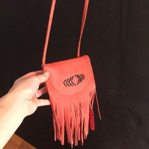 Free People leather tribal fringe crossbody bag
